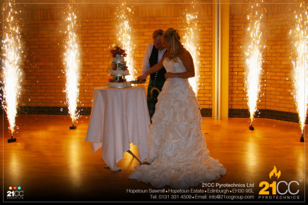 cake cutting fountains for weddings by 21CC Pyrotechnics Ltd