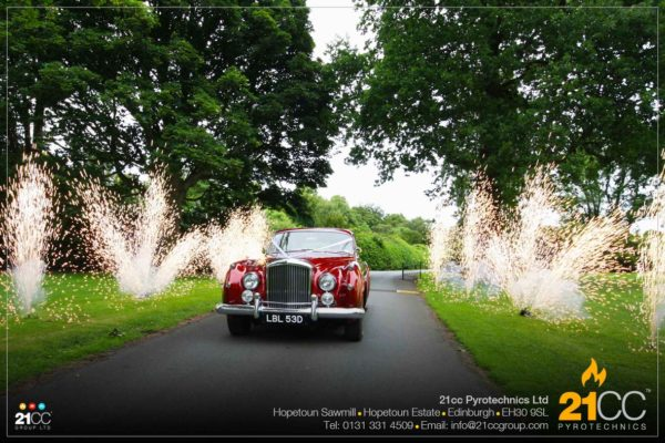 driveway fountains for weddings by 21CC Pyrotechnics Ltd