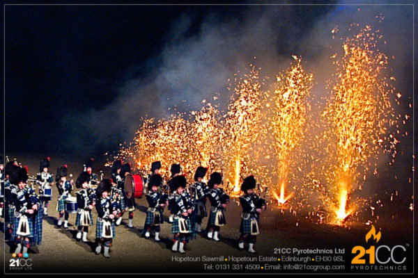 pipe band fountains for events by 21CC Pyrotechnics Ltd